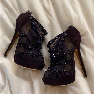 Swarovski crystal purple heels
